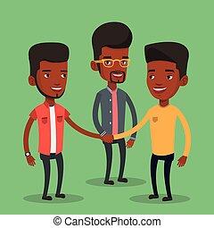groep, zakenlieden, hands., aansluiting