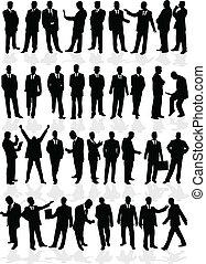 groep, zakenlui, mannen, -, groot, smart