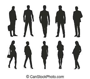 groep, zakenlui, mannen, vrijstaand, silhouettes, vector, vrouwen