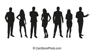 groep, zakenlui, mannen, vrijstaand, silhouettes, vrouwen