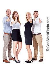 groep, zakenlui, samen, team, vrolijke
