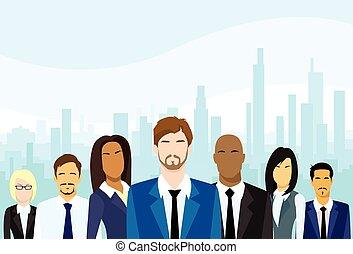 groep, zakenlui, vector, team, anders