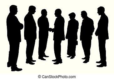 groep, zakenlui, vergadering, handen te schudden