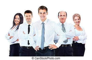 groep, zakenlui, vrijstaand, achtergrond., team., witte