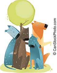 groep, zittende , boompje, honden, onder, spotprent