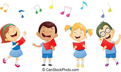 groepen, van, onderricht kinderen, het zingen, in, zanggroep