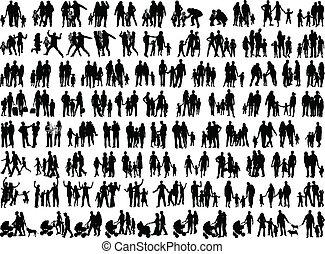 groepen, vector, gezin