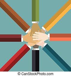 groepering aaneen, handen