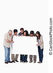 groepering aaneen, meldingsbord, vasthouden, leeg, vrienden