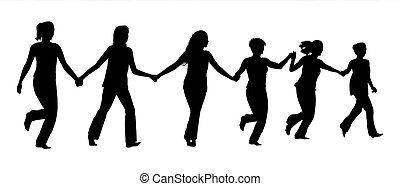 groepering aaneen, rennende , holdingshanden, vrouwen