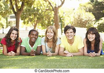 groepering van tieners, het liggen, op, magen, in park