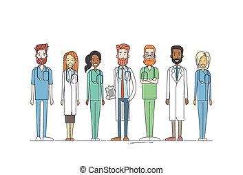 groepswerk, medial, artsen, mager, team, lijn