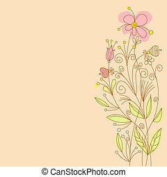 groet, bloemen, kaart
