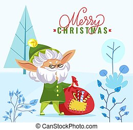 groet, bos, zak, zalige kerst, elf
