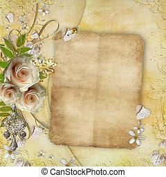 groet, gouden, kaart, met, mooi, rozen, papier, hartjes, lint, bladeren