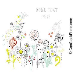 groet, hand, ontwerp, getrokken, bloemen, vogel, kaart