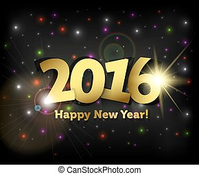 groet, jaar, nieuw, 2016, kaart, vrolijke