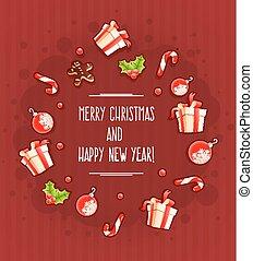 groet, kadootjes, zoetigheden, wolk, kerstmis kaart