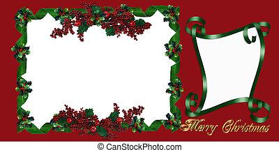groet, kerstmis kaart, hulst