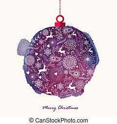 groet, kerstmis, watercolor, retro, bauble, kaart