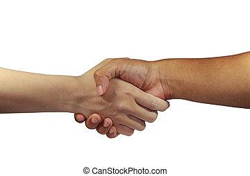 groet, met, hand