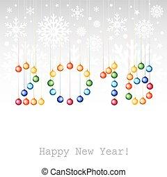 groet, of, achtergrond, jaar, nieuw, balls., 2016, kerstmis kaart, vrolijke