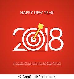 groet, ontwerp, 2018, jaar, nieuw, kaart, vrolijke