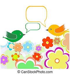 groet, twee, flowers., vector, onder, vogels, kaart