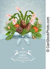 groet, vector, jaar, nieuw, kerstmis kaart