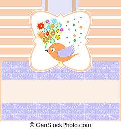 groet, vector, leeg, bloemen, vogels, kaart