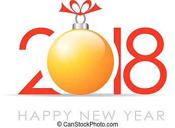 groet, versiering, 2018, jaar, nieuw, kerstmis kaart, vrolijke