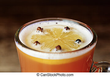 Grog in a glass with spices