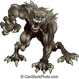grogner, effrayant, loup-garou
