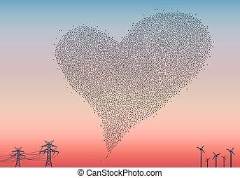 gromada, wektor, ptaszki, serce