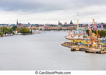 grona, eiland, stockholm, lund, beckholmen, tivoli, aanzicht