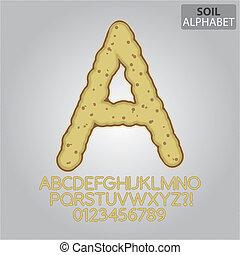 grond, terrein, vector, getallen, alfabet