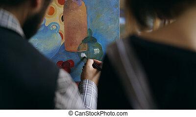 grondbeginselen, kunst, kunstenaar, het tonen, bekwaam, back, jonge, studio, onderwijs, meisje, het schilderen van de mens, aanzicht