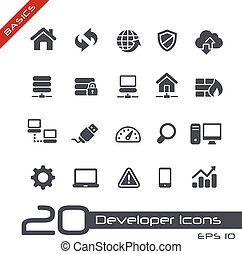 //, grondbeginselen, ontwikkelaar, iconen
