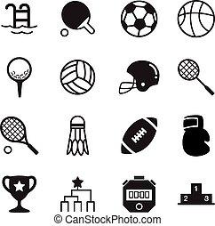 grondbeginselen, silhouette, iconen, symbool, sporten, vector
