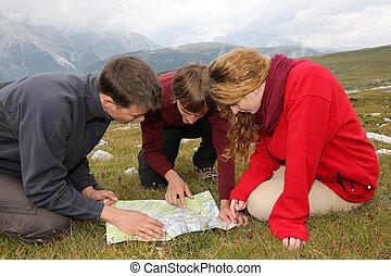 grondig, de, bestemming, op, een, kaart, in de bergen