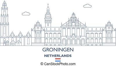 groningen, 都市 スカイライン, netherlands