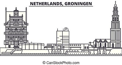 groningen, 都市, illustration., 景色。, ランドマーク, 有名, スカイライン, ベクトル, 光景, 都市の景観, 線, netherlands, 線である