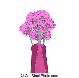 grono, kwiaty, wazon