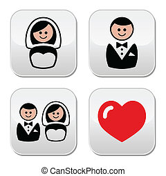Groom and bride buttons