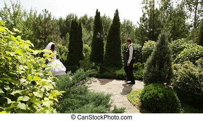 Groom and bride hurry on meeting