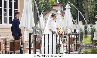 Groom and Bride in a park