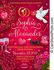 Groom and bride names wedding day party invitation