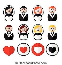 Groom and bride, wedding icons
