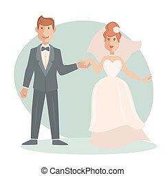 Groom and bride wedding vector illustration