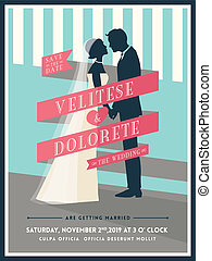 Groom and Bride with ribbon wedding invitation template